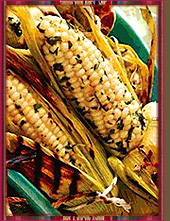 Fresh corn has been roasted in its husks.